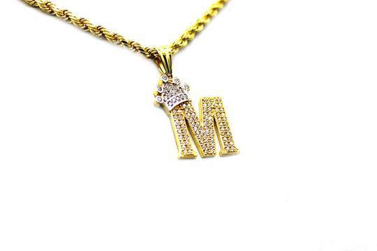 Other (2007) 10K Yellow Gold CZ Letter M With Rope Chain Image 1