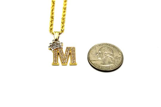 Other (2007) 10K Yellow Gold CZ Letter M With Rope Chain Image 2