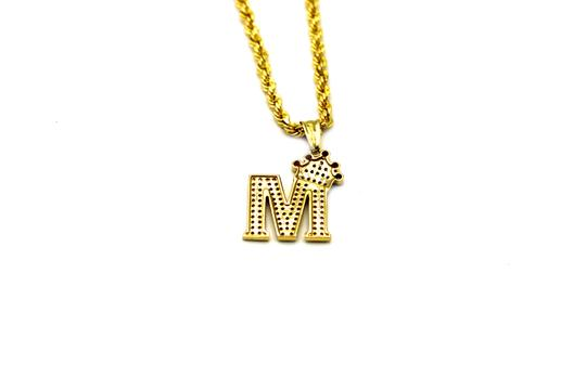 Other (2007) 10K Yellow Gold CZ Letter M With Rope Chain Image 3