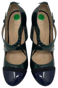 Tory Burch Hunter green and Navy Pumps