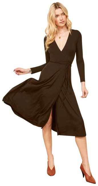 Reformation Black Maurie Wrap Casual Maxi Dress Size 4 S