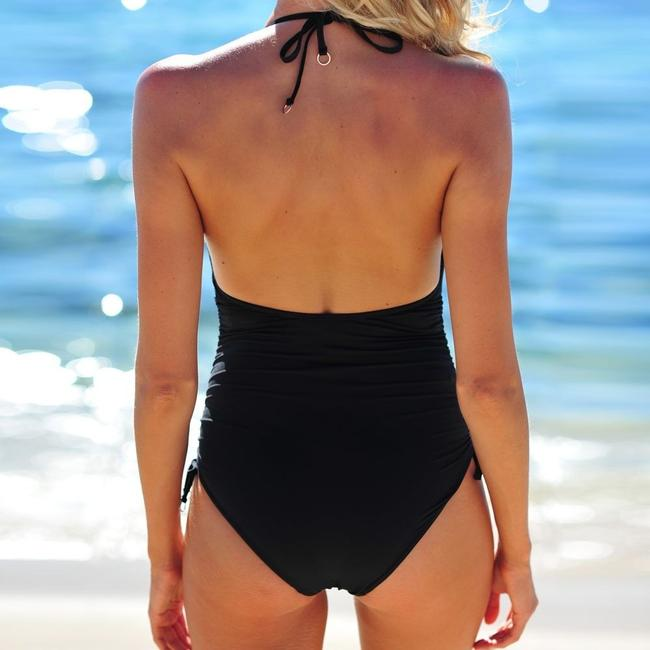SeaFolly Seafolly Active Ruched Side Deep V Maillot One-Piece Image 3