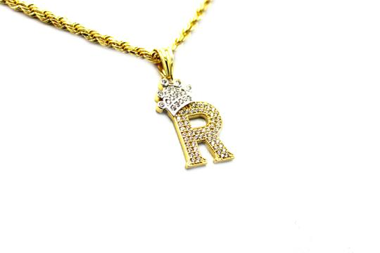 Other (2008) 10K Yellow Gold CZ Letter R With Rope Chain Necklace Image 1
