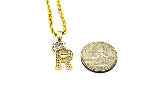Other (2008) 10K Yellow Gold CZ Letter R With Rope Chain Necklace Image 2