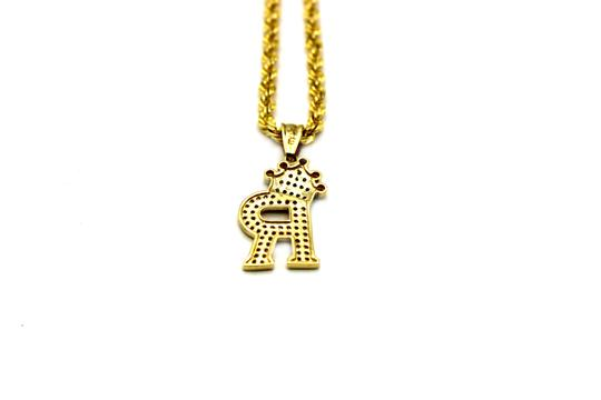 Other (2008) 10K Yellow Gold CZ Letter R With Rope Chain Necklace Image 3