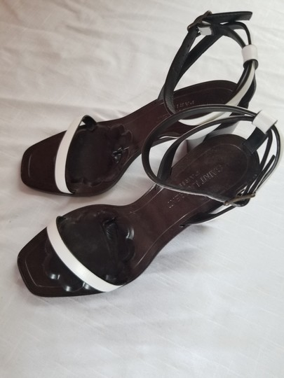 Saint Laurent Dark brown with white leather straps Sandals Image 6