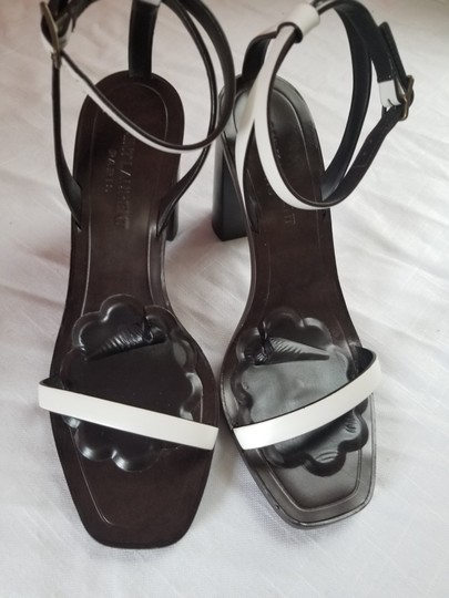 Saint Laurent Dark brown with white leather straps Sandals Image 9