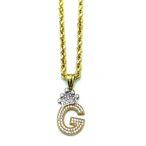 other (2009) 10K Yellow Gold Rope Chain With Initial G Charm