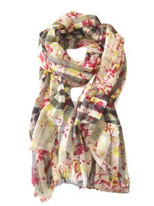 Burberry Splash Print Check Lightweight Wool Scarf in Stone/Yellow
