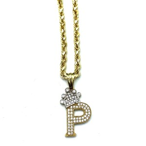 Other (2010) 10K Yellow Gold Rope Chain With Initial P Charm