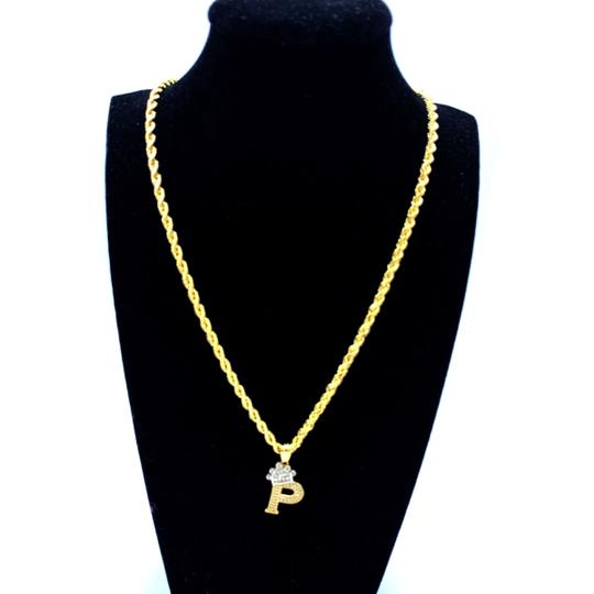 Other (2010) 10K Yellow Gold Rope Chain With Initial P Charm Image 1