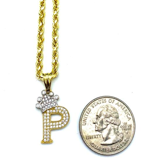 Other (2010) 10K Yellow Gold Rope Chain With Initial P Charm Image 2