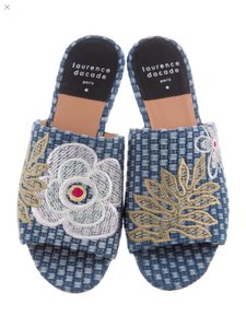 Laurence Dacade Blue denim and multicolor flowers Sandals