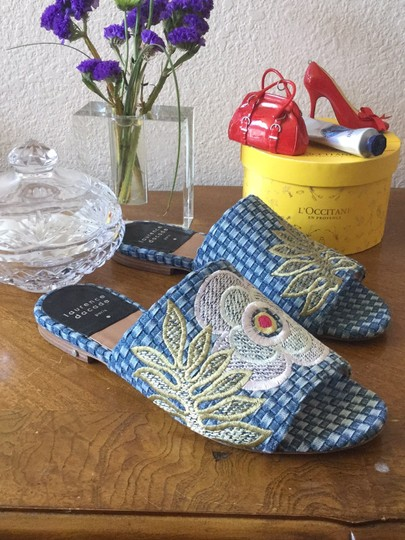 Laurence Dacade Blue denim and multicolor flowers Sandals Image 4