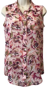 Liz Claiborne Sleeveless Floral Sheer Summer Spring Top Multi