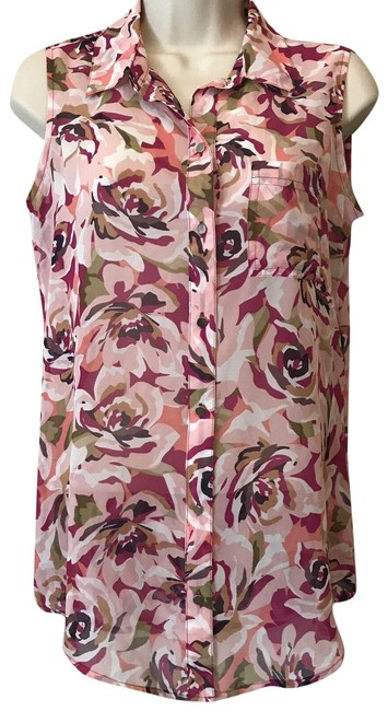 Liz Claiborne Sleeveless Floral Sheer Summer Spring Top Multi Image 0