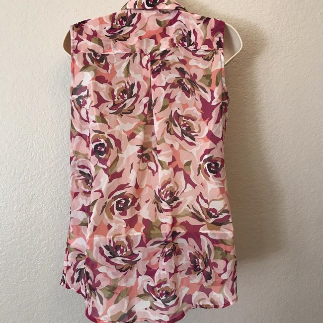 Liz Claiborne Sleeveless Floral Sheer Summer Spring Top Multi Image 2