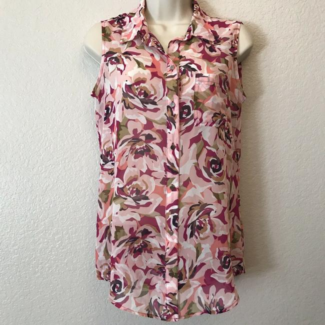 Liz Claiborne Sleeveless Floral Sheer Summer Spring Top Multi Image 3