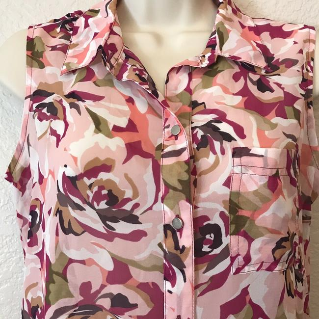Liz Claiborne Sleeveless Floral Sheer Summer Spring Top Multi Image 4