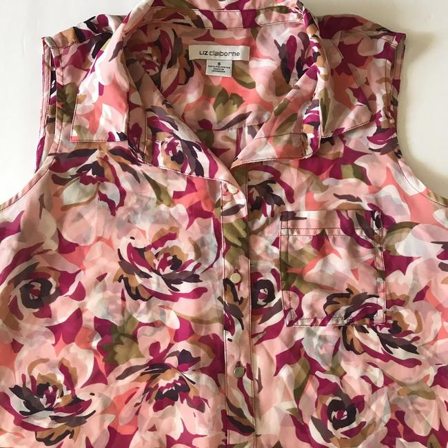 Liz Claiborne Sleeveless Floral Sheer Summer Spring Top Multi Image 5