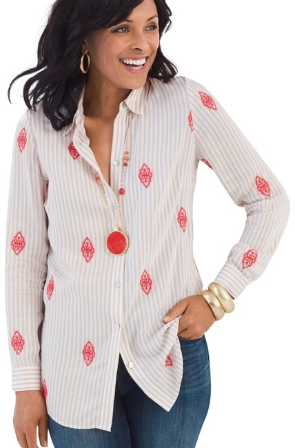 Preload https://img-static.tradesy.com/item/25496872/chico-s-beigecoral-striped-embroidered-button-up-blouse-size-12-l-0-1-650-650.jpg