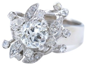 Cocktail Ring Old Cut Round Diamond Flower Ring 1.12 tcw in 18k Cocktail Ring