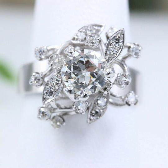 Cocktail Ring Old Cut Round Diamond Flower Ring 1.12 tcw in 18k Cocktail Ring Image 2