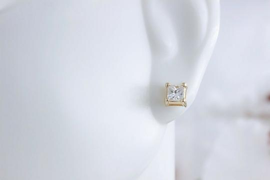 Solitaire Earrings Princess Diamond Solitaire Stud Earrings 0.58 tcw set in 14k Gold Image 1