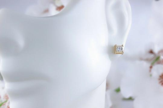 Solitaire Earrings Princess Diamond Solitaire Stud Earrings 0.58 tcw set in 14k Gold Image 2
