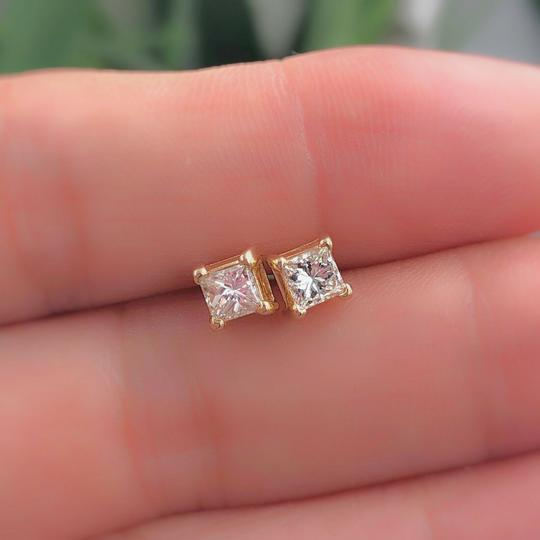 Solitaire Earrings Princess Diamond Solitaire Stud Earrings 0.58 tcw set in 14k Gold Image 3