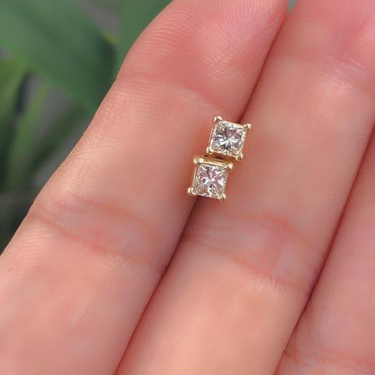 Solitaire Earrings Princess Diamond Solitaire Stud Earrings 0.58 tcw set in 14k Gold Image 5