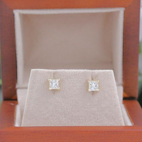 Solitaire Earrings Princess Diamond Solitaire Stud Earrings 0.58 tcw set in 14k Gold Image 6
