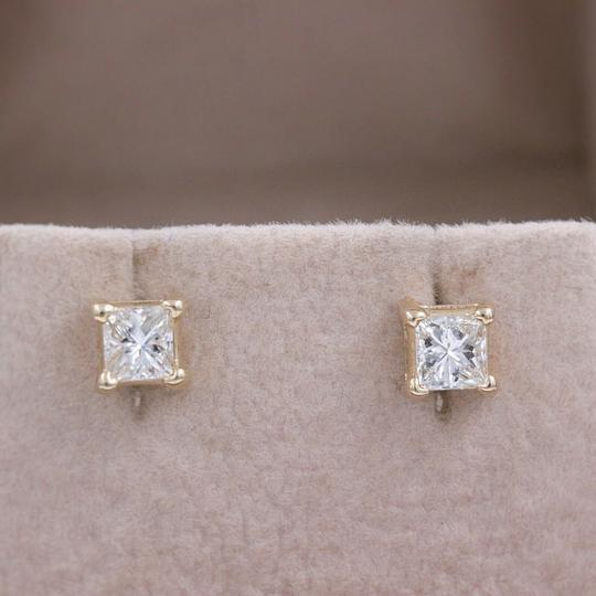 Solitaire Earrings Princess Diamond Solitaire Stud Earrings 0.58 tcw set in 14k Gold Image 8