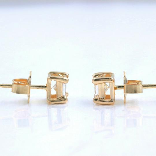 Solitaire Earrings Princess Diamond Solitaire Stud Earrings 0.58 tcw set in 14k Gold Image 9