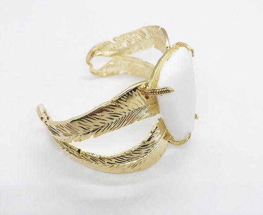 Kendra Scott Gold Mop White Mother Of Pearl Celeste Cuff Bangle Bracelet Image 2