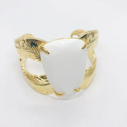 Kendra Scott Gold Mop White Mother Of Pearl Celeste Cuff Bangle Bracelet Image 3