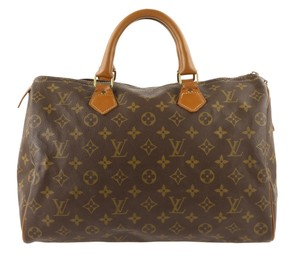 Louis Vuitton Monogram Canvas Leather Satchel in Brown