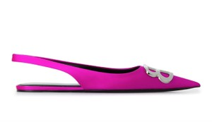 Balenciaga Logo Plaque Pointed Toe Made In Italy Branded Insole Slingback Fuchsia pink Flats
