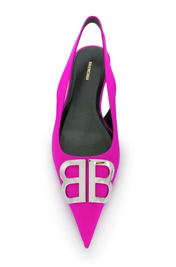 Balenciaga Logo Plaque Pointed Toe Made In Italy Branded Insole Slingback Fuchsia pink Flats Image 1