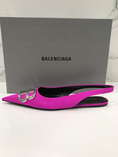 Balenciaga Logo Plaque Pointed Toe Made In Italy Branded Insole Slingback Fuchsia pink Flats Image 2