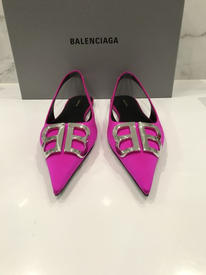 Balenciaga Logo Plaque Pointed Toe Made In Italy Branded Insole Slingback Fuchsia pink Flats Image 4