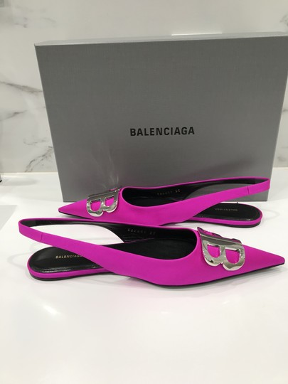 Balenciaga Logo Plaque Pointed Toe Made In Italy Branded Insole Slingback Fuchsia pink Flats Image 7