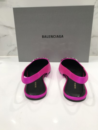 Balenciaga Logo Plaque Pointed Toe Made In Italy Branded Insole Slingback Fuchsia pink Flats Image 9
