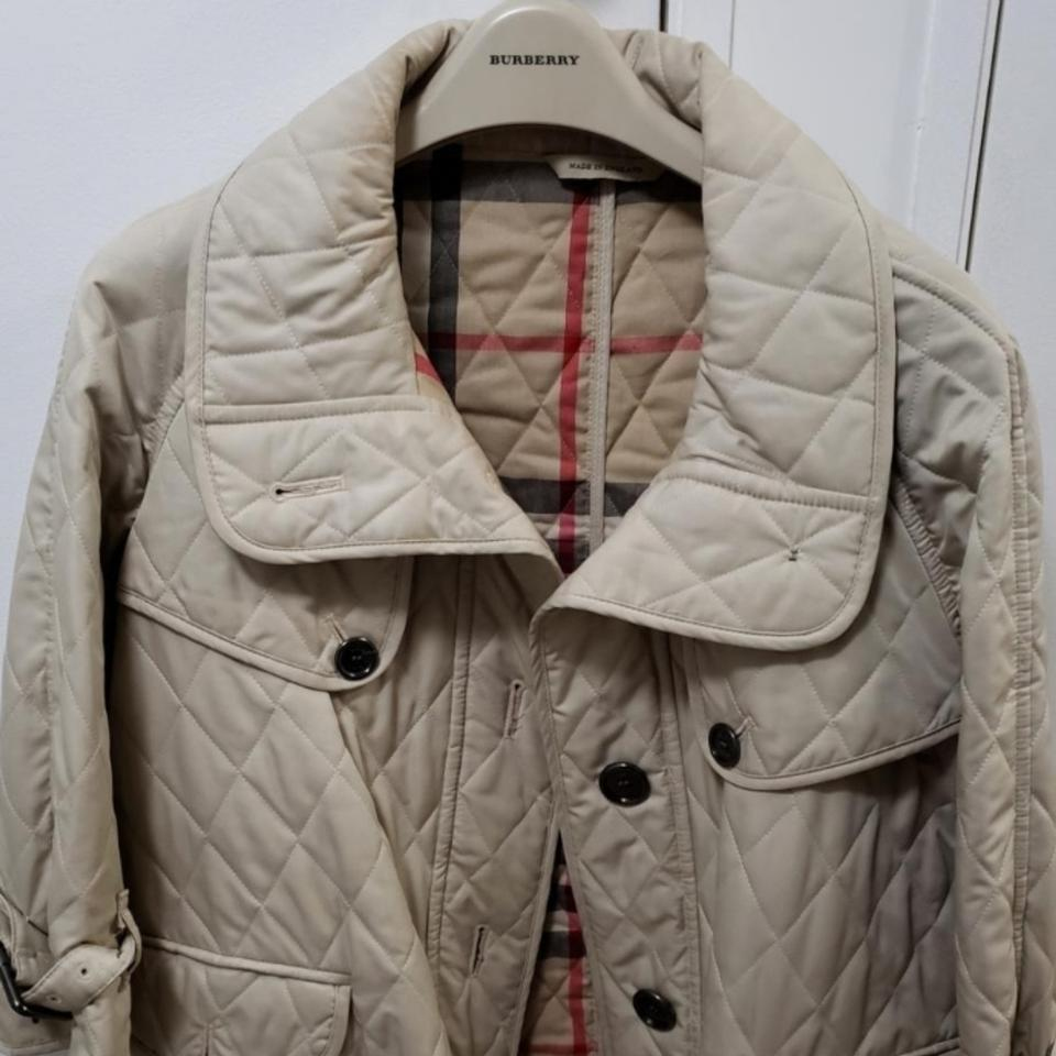 Burberry Beige Quilted Jacket Size 8 M Tradesy