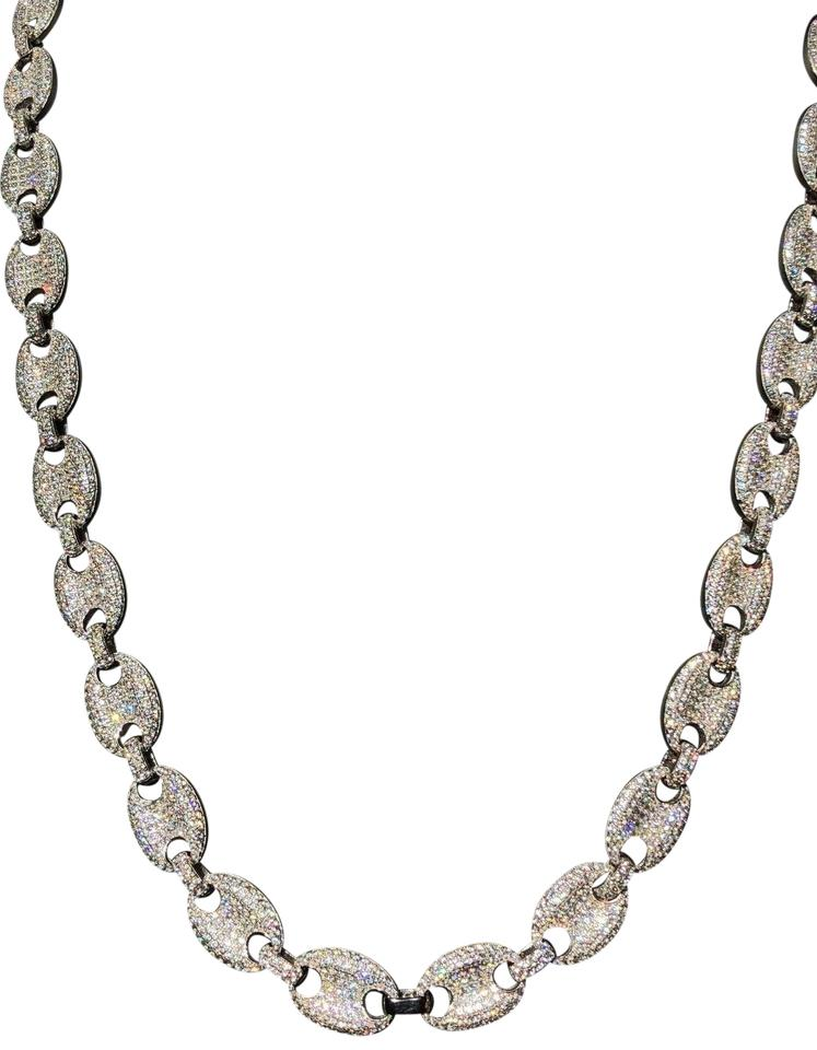 Silver Men\u0027s Mariner Puffed Gucci Link Chain Icy Lab Diamond Solid 925  Necklace