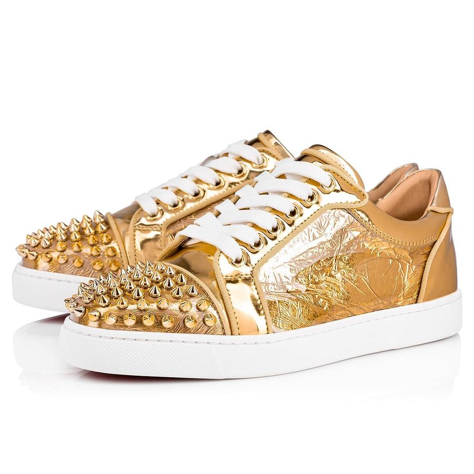 best loved 2bdf5 689be Christian Louboutin Gold Vieira Spikes Orlato Ruban Flat Lace Up Tie Foil  Low Top Sneakers Size EU 39 (Approx. US 9) Regular (M, B)