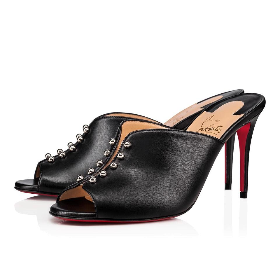 outlet store f851a 474b2 Christian Louboutin Black Predumule 85 Nappa Shiny Backless Stiletto Sandal  Mule Heel Pumps Size EU 36 (Approx. US 6) Regular (M, B)