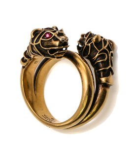 Gucci Coiled Bengal Tiger Heads Accessory Ring