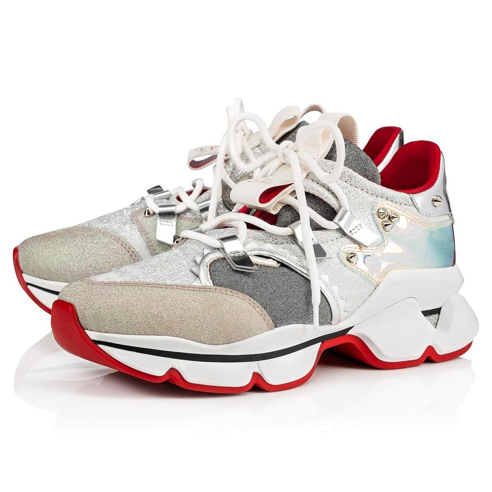 sports shoes 6f690 6c342 Christian Louboutin Silver Red Runner Donna Flat Glitter Sunset Lace Up Tie  Trainer Sneakers Size EU 37 (Approx. US 7) Regular (M, B)