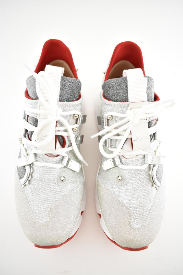 744fa3498f2 Christian Louboutin Silver Red Runner Donna Flat Glitter Sunset Lace Up Tie  Trainer Sneakers Size EU 37 (Approx. US 7) Regular (M, B)